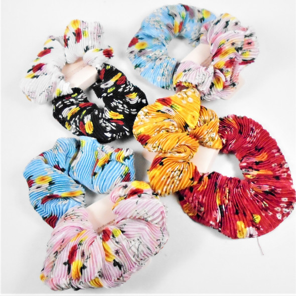 2 Pack Large Size Pleated Scrungi Flower Prints  .58 per set