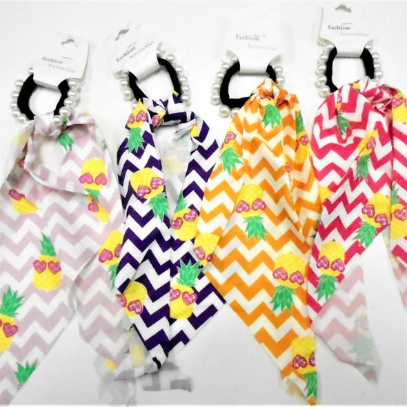 """Black & Pearl Hair Holder w/ 11"""" Chevron & Pineapple Print w/ Tails    .60 each"""