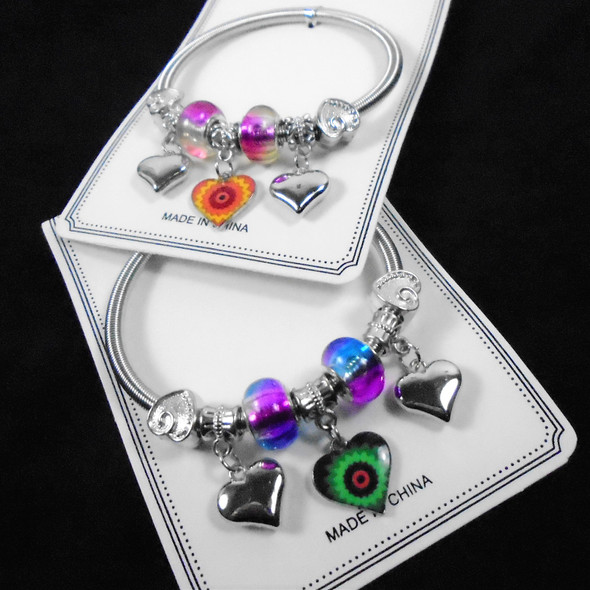 Silver Spring Style Beaded Bracelet w/ Colorful Heart   Charm .60  ea