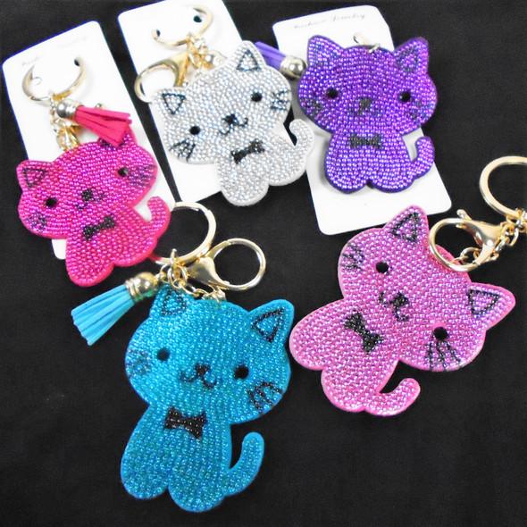 "3"" Crystal CUTE Cat  Bling Keychain w/ Tassel & Clip 12 per pk .65 ea"