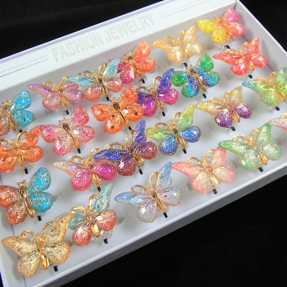 Multi Color Flashing Butterfly Rings 24 per bx  .65 each