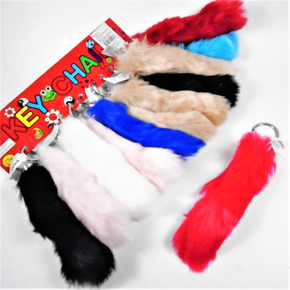 """6"""" Asst Color Fury Tail Novelty Keychains  12 per pk  .58 each"""