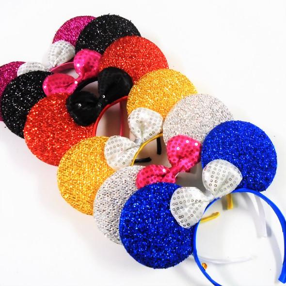 """8"""" Sparkle Mouse Ear Headbands w/ Sequin Bow  Asst Colors .62 each"""