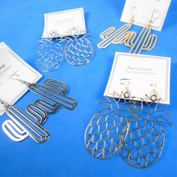 "2"" Gold & Silver Lightweight Pineapple/Cactus  Earrings  .58 per pair"