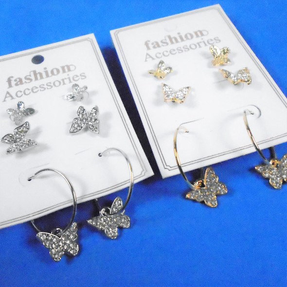 Value Pack So Cute 3 Pair Gold/Silver Butterfly Earrings  .58 per set