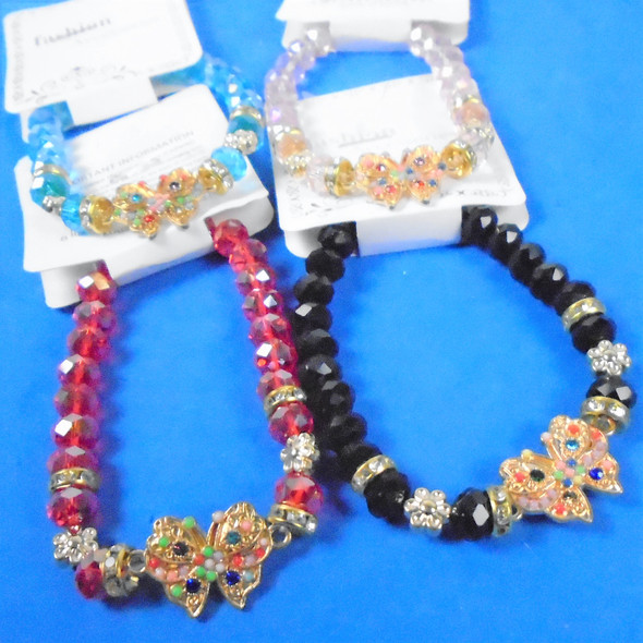 Crystal Beaded Butterfly  Bracelet Mixed Color w/ Beaded Butterfly  .60 ea