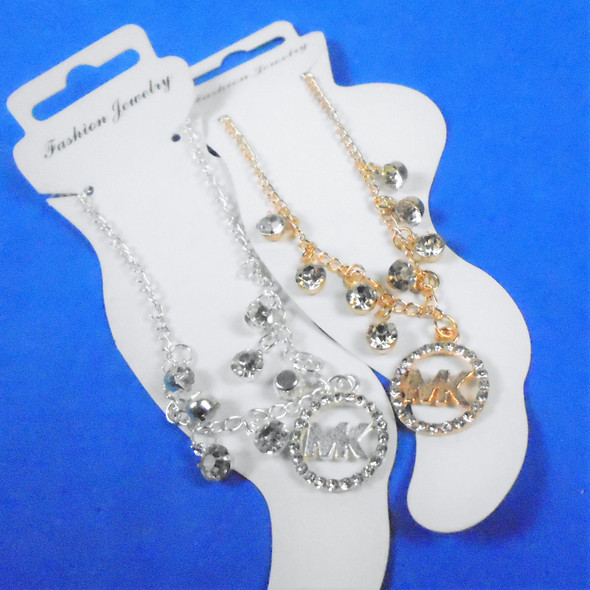 Gold & Silver Chain Anklets w/ Dangle Cahrm & Stones  .60 each