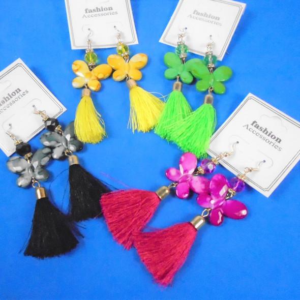 """3.5"""" MBL Butterfly Fashion Earring w/ Dangle  Tassel .58 each  pair"""