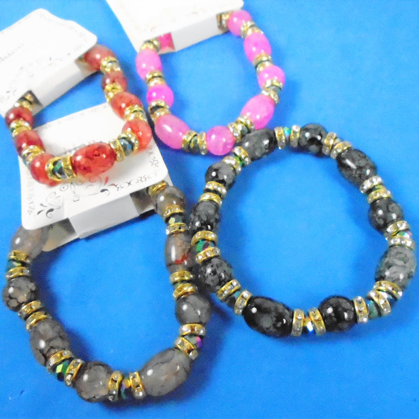 Glass Oval MBL Bead Bracelets w/ Crystal Stones Mixed Colors .58 each