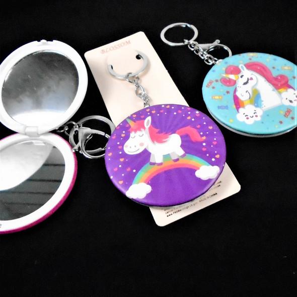 "3"" Unicorn Theme DBL Mirror Compact w/ Clip & Keychain  .60 each"