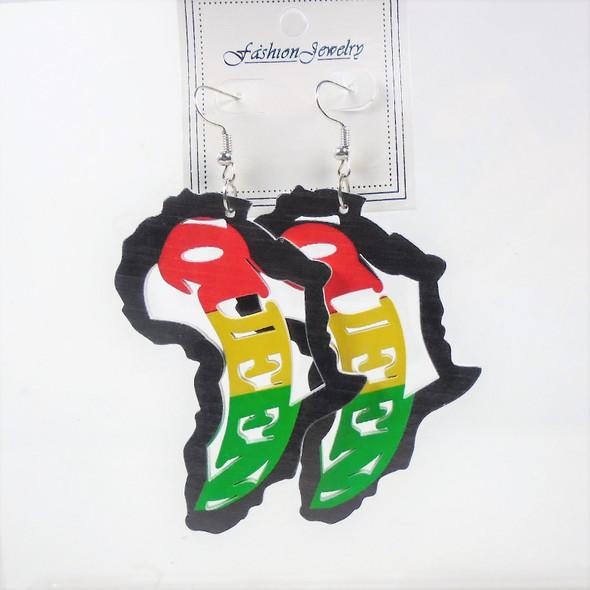 """3"""" Rasta Color QUEEN Wood Earrings  in Africa Map    .58 per pair"""
