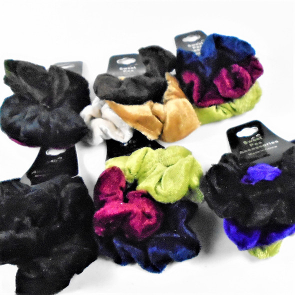 3 Pack Velvet Hair Twisters Mixed Winter Colors   .56 per set
