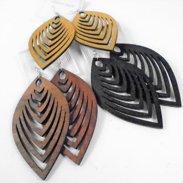"3.5"" Long Wood Earrings w/  Cut Out Design      .58 per pair"