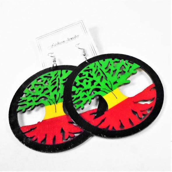 "3"" Wood Earrings Tree of Life Theme Rasta Colors    .58 per pair"