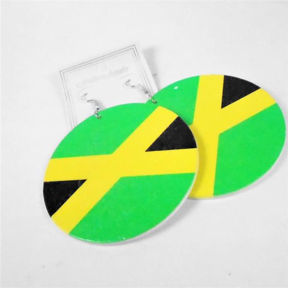 "3"" Wood Earrings Jamaica Flag Theme   .58 per pair"