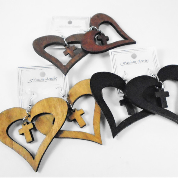 "2.5"" Wood Earrings Heart Shaped w/ Dangle Cross   .58 per pair"