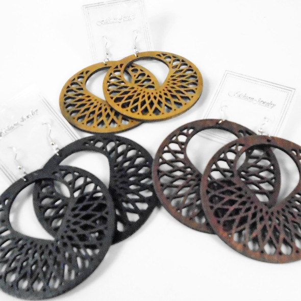 """2.75"""" Round Wood Earrings w/  Cut Out Design (3052)   .58 per pair"""