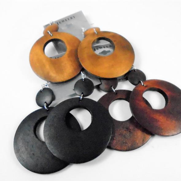 "3"" Round Wood Earrings  2 Part Dangle  .58 per pair"