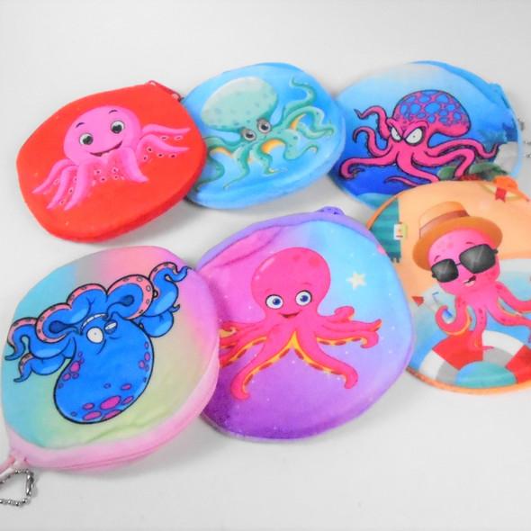 """Cutest 4"""" Velveteen Octopus Theme Zipper Bag  .56 each"""