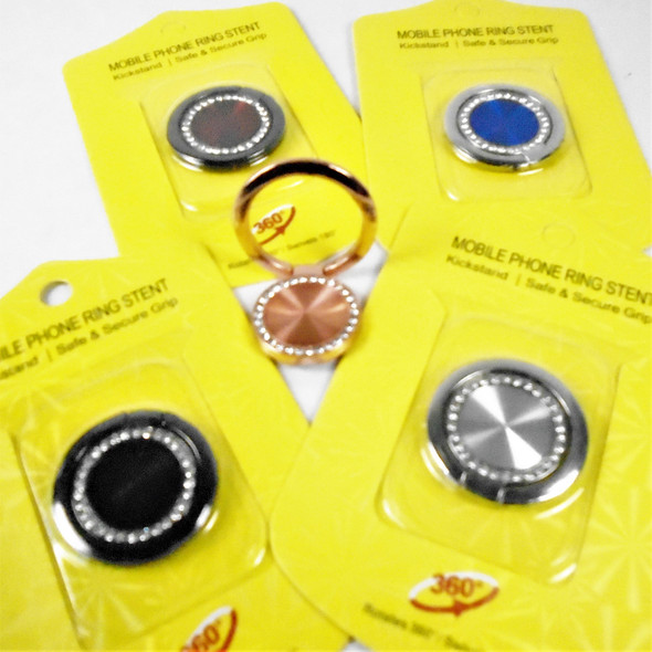 NEW  Rotate Ring Hook Phone Holders 12 per pk Round w/ Crystal Stones   .58 each