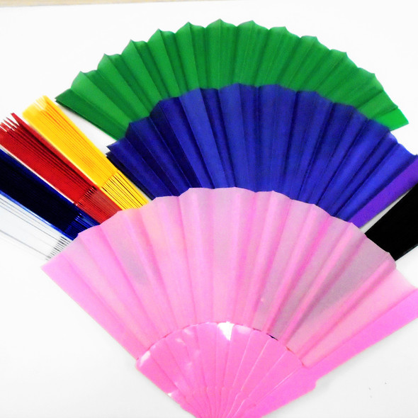 "Popular 9"" Asst Color Fabric Fans .54 ea"