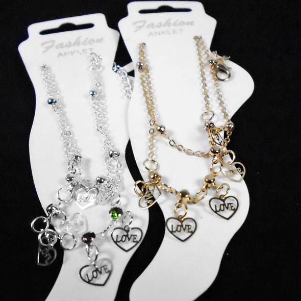 2 Strand Gold & Silver Anklets w/ Stones & Love Heart Charms  .58 ea