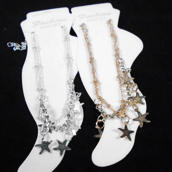 2 Strand Gold & Silver Anklets w/ Stones & Star Charms  .58 ea