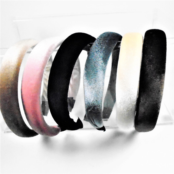 """1"""" Wide Soft Padded Top Mixed Color Fashion Headbands  Velveteen .58 ea"""