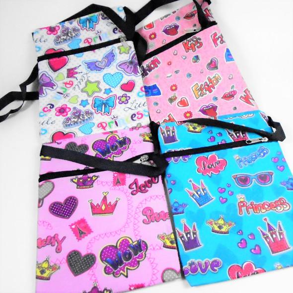 """5"""" X 7"""" Colorful Princess  Pattern Zipper Bag w/ Strap  .58 ea"""