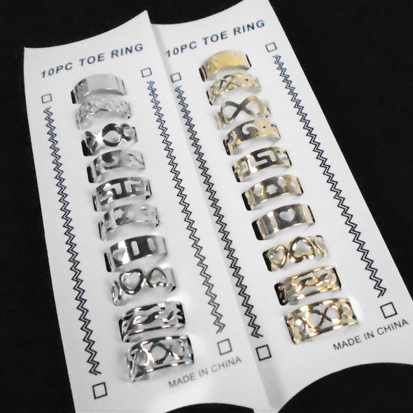 10 Pack Gold & Silver Mixed Style Adj. Toe Rngs (059)  .58 per set