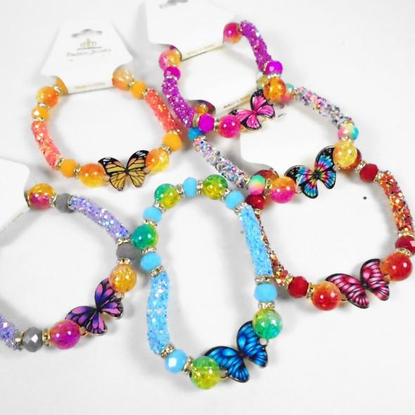 Beaded & Sparkle Stretch Bracelets w/ Colorful Butterfly   .58 each