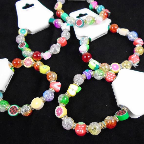 Kid's MBL Beaded Stretch Bracelets Fruit Theme Beads   .54 each
