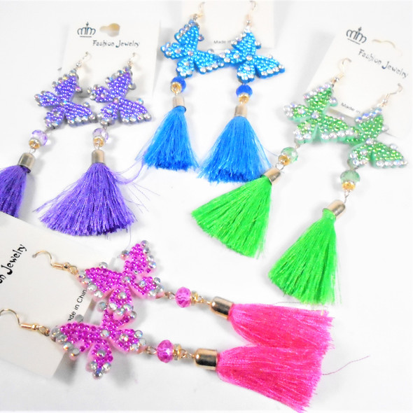 """4"""" Cry. Stone Butterfly Earring w/ Tassel  Asst Colors .58 per pair"""