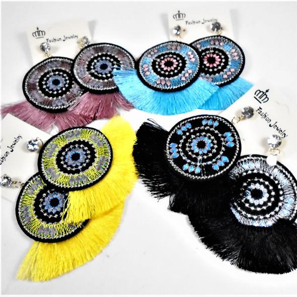 "2.75"" Round Fabric Design Earring w/ Fringe Bottom  Asst Colors .58 per pair"