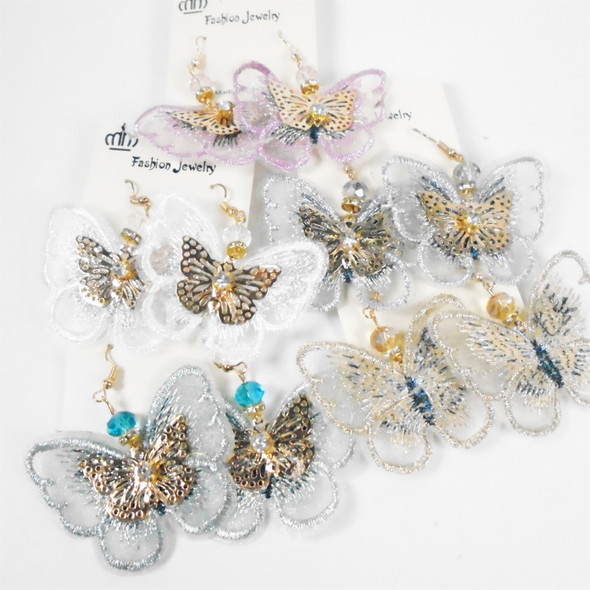 """2"""" Delicate Lace & Gold Butterfly Earring w/ Cry. Bead Asst Colors .58 per pair"""