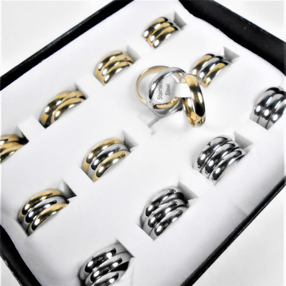 Unisex Stainless Steel Band  Rings Gold/Silver Polished Finish 36 pcs per bx