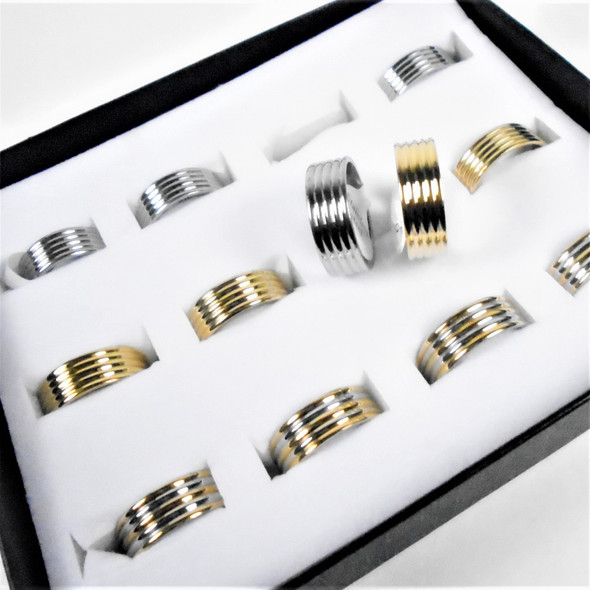 Unisex Stainless Steel Band  Rings Gold/Silver Textured 12 per bx  .58 each