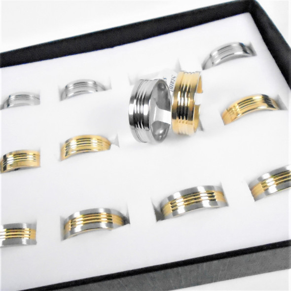 Unisex Stainless Steel Band  Rings Gold/Silver Hi Polished Textured 12 per bx  .60 each
