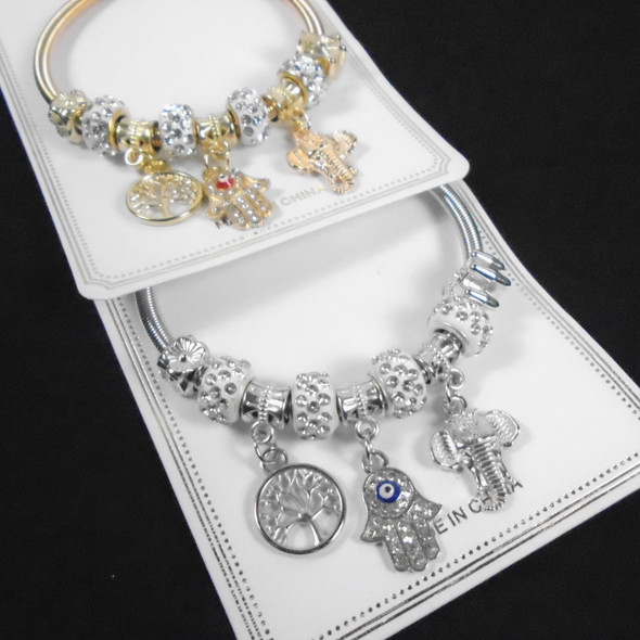 Gold & Silver Spring Style Beaded Bracelet w/ Mixed Charms & Fireball Beads   .60  each