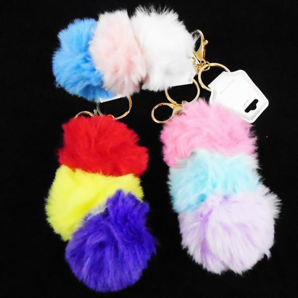 "4.75"" Faux Fur Tri Color Fury Key Chains w/ Clip  12 per pk  .58 each"