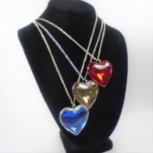"24"" Gold & Silver Chain Necklace w/ 1.5"" Glass Heart Pendant   .62 ea"