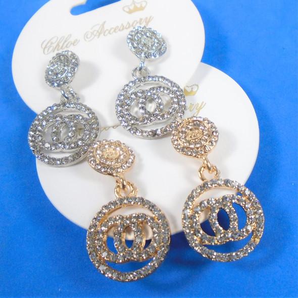 "1.5"" Gold & Silver Crystal Stone DBL Circle Pattern Fashion Earrings  .58 per pair"