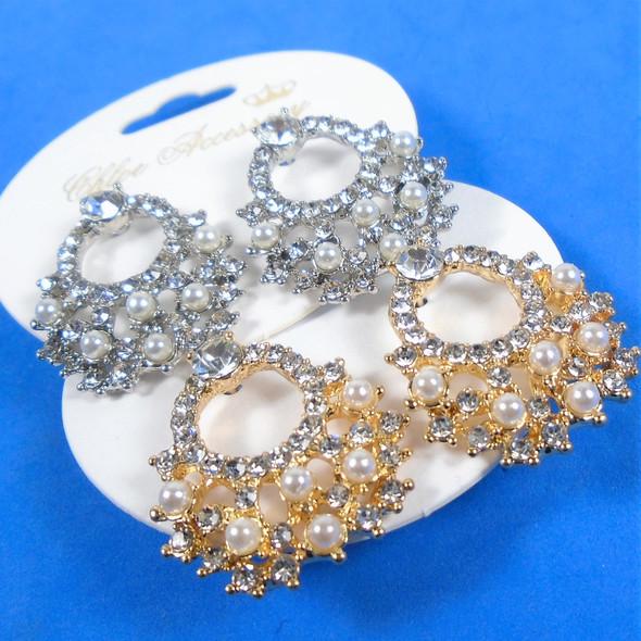 "1"" Elegant Gold & Silver Crystal Stone & Pearl   Fashion Earrings  .58 per pair"
