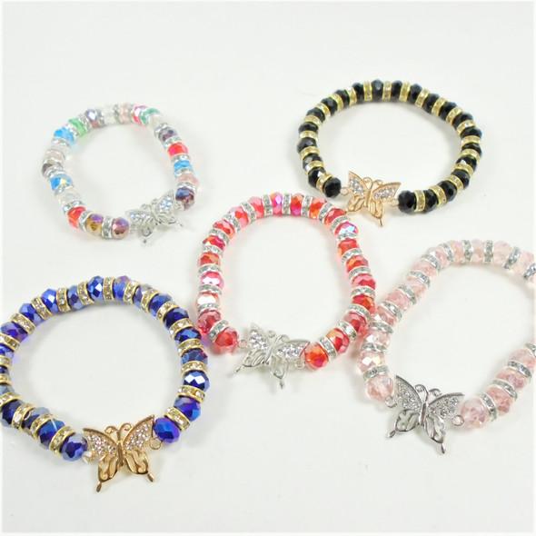 Crystal Beaded Stretch Bracelet w/ Cry. Stone Butterfly .60 each