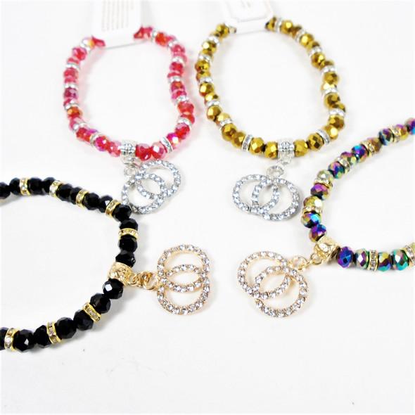Metallic Beaded Stretch Bracelet w/ Cry. Stone DBL Circle Charms  .58 each