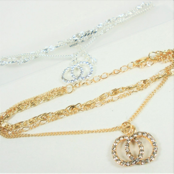 Gold & Silver Multi Chain Anklets w/ DBL Cry. Stone Circles  .56 each
