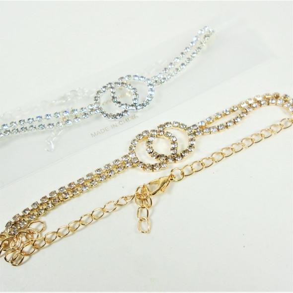 Gold & Silver DBL Row Rhinestone Anklets w/ DBL Cry. Stone Circles   .58 each