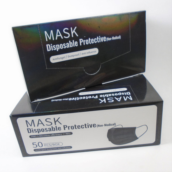 IN STOCK Black  Color Disposable Face Mask  50 pcs per pack  .12 each