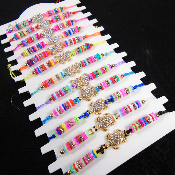Colorful Beaded Cord Bracelets w/ Butterfly,Turtle,Heart  Charms   12 - per cd  .58 each
