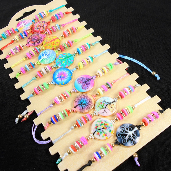 Colorful Beaded Cord Bracelets w/ Tree of Life Charm   12 - per cd  .56 each